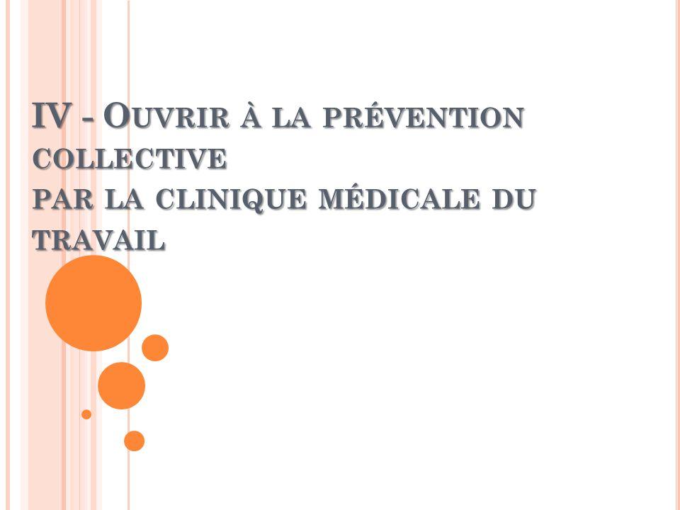 IV - O UVRIR À LA PRÉVENTION COLLECTIVE PAR LA CLINIQUE MÉDICALE DU TRAVAIL