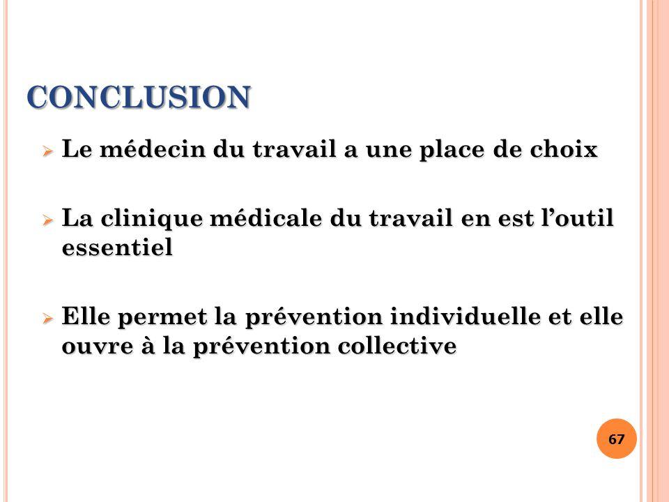 67 CONCLUSION  Le médecin du travail a une place de choix  La clinique médicale du travail en est l'outil essentiel  Elle permet la prévention indi