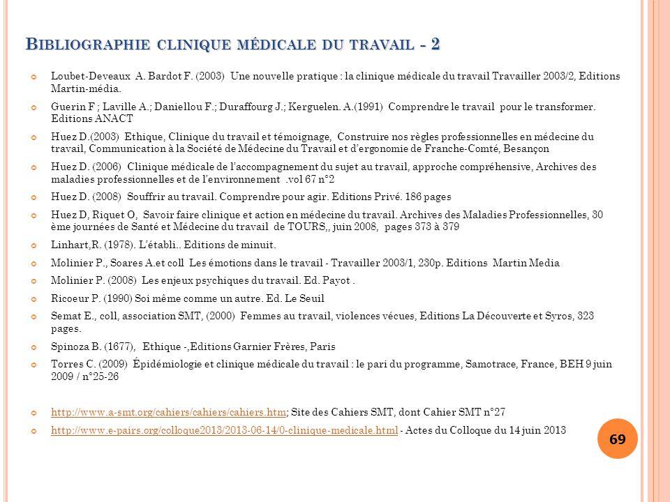 69 B IBLIOGRAPHIE CLINIQUE MÉDICALE DU TRAVAIL - 2 Loubet-Deveaux A. Bardot F. (2003) Une nouvelle pratique : la clinique médicale du travail Travaill