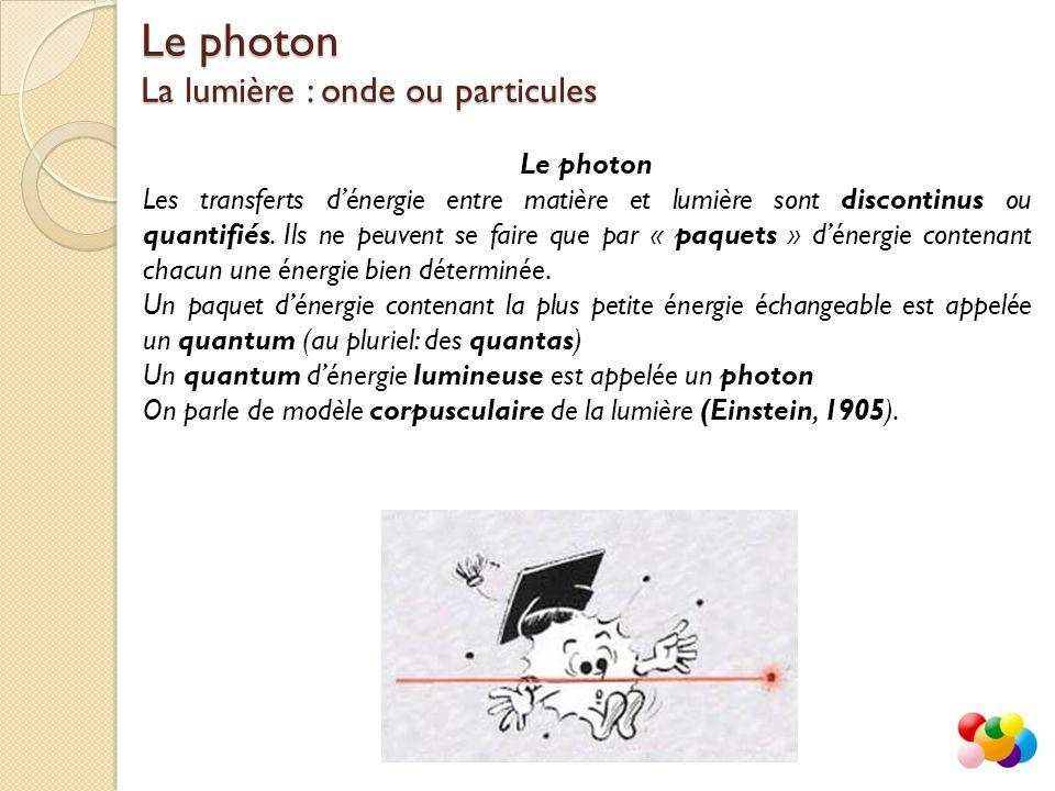 L'énergie du photon Chaque photon d un rayonnement (lumière, ondes radios, rayons X...) est porteur d un quantum d énergie caractéristique de sa fréquence.