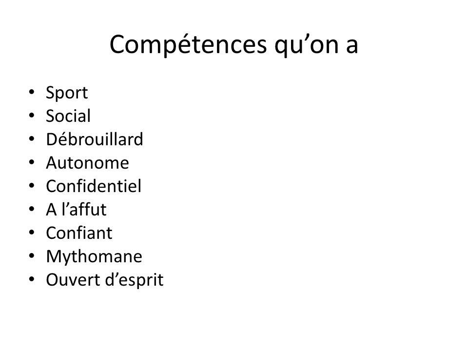 Compétences qu'on a Sport Social Débrouillard Autonome Confidentiel A l'affut Confiant Mythomane Ouvert d'esprit