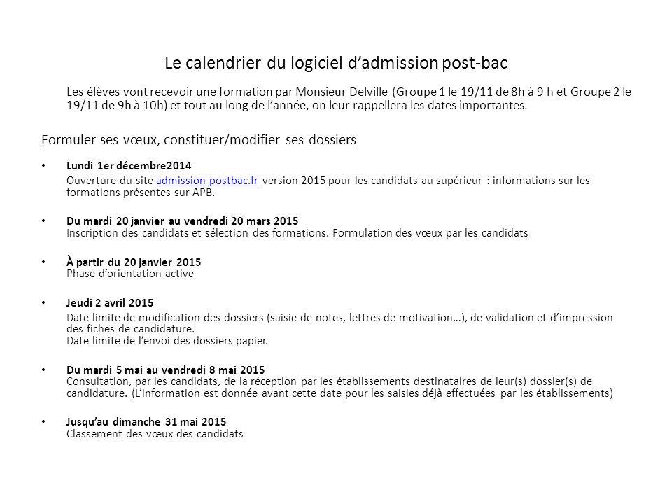 Le calendrier du logiciel d'admission post-bac Les élèves vont recevoir une formation par Monsieur Delville (Groupe 1 le 19/11 de 8h à 9 h et Groupe 2 le 19/11 de 9h à 10h) et tout au long de l'année, on leur rappellera les dates importantes.