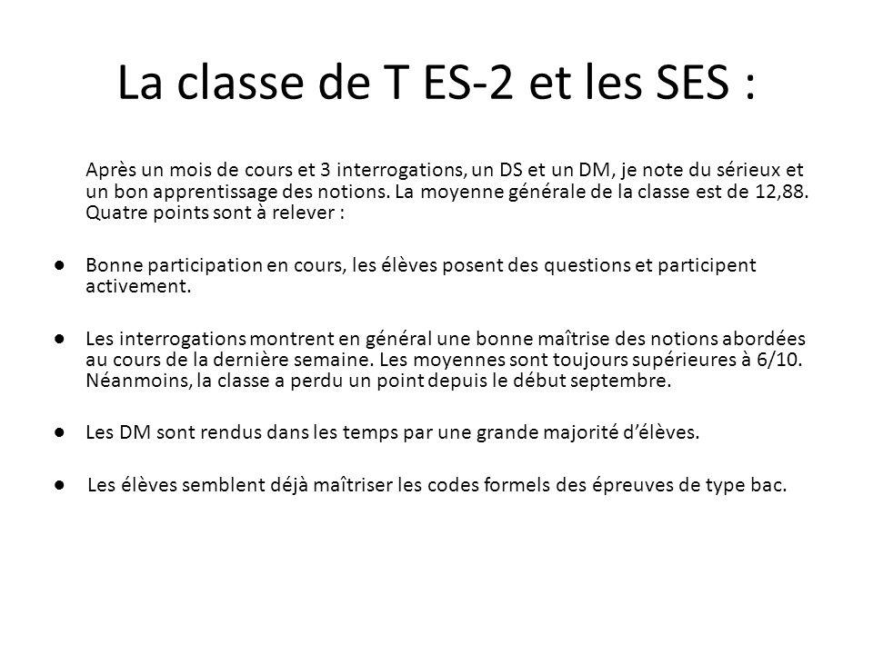 La classe de T ES-2 et les SES : Après un mois de cours et 3 interrogations, un DS et un DM, je note du sérieux et un bon apprentissage des notions.