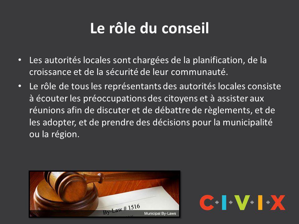 Le rôle du conseil Les autorités locales sont chargées de la planification, de la croissance et de la sécurité de leur communauté.