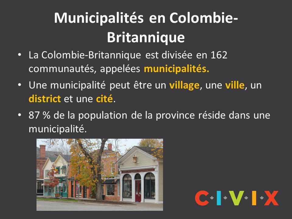 Municipalités en Colombie- Britannique La Colombie-Britannique est divisée en 162 communautés, appelées municipalités.
