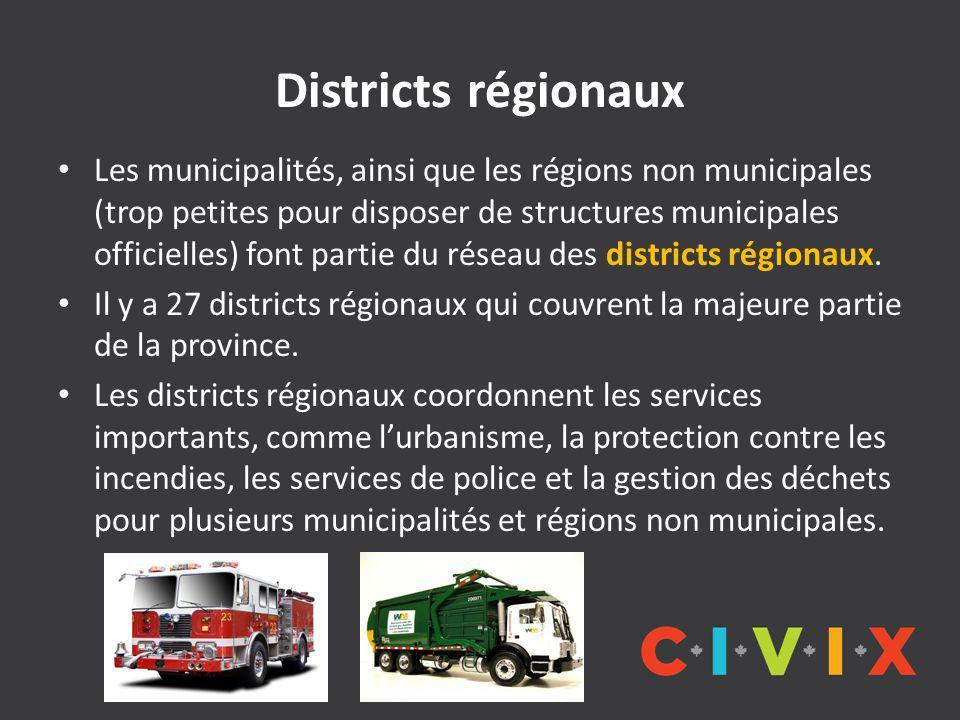 Districts régionaux Les municipalités, ainsi que les régions non municipales (trop petites pour disposer de structures municipales officielles) font partie du réseau des districts régionaux.