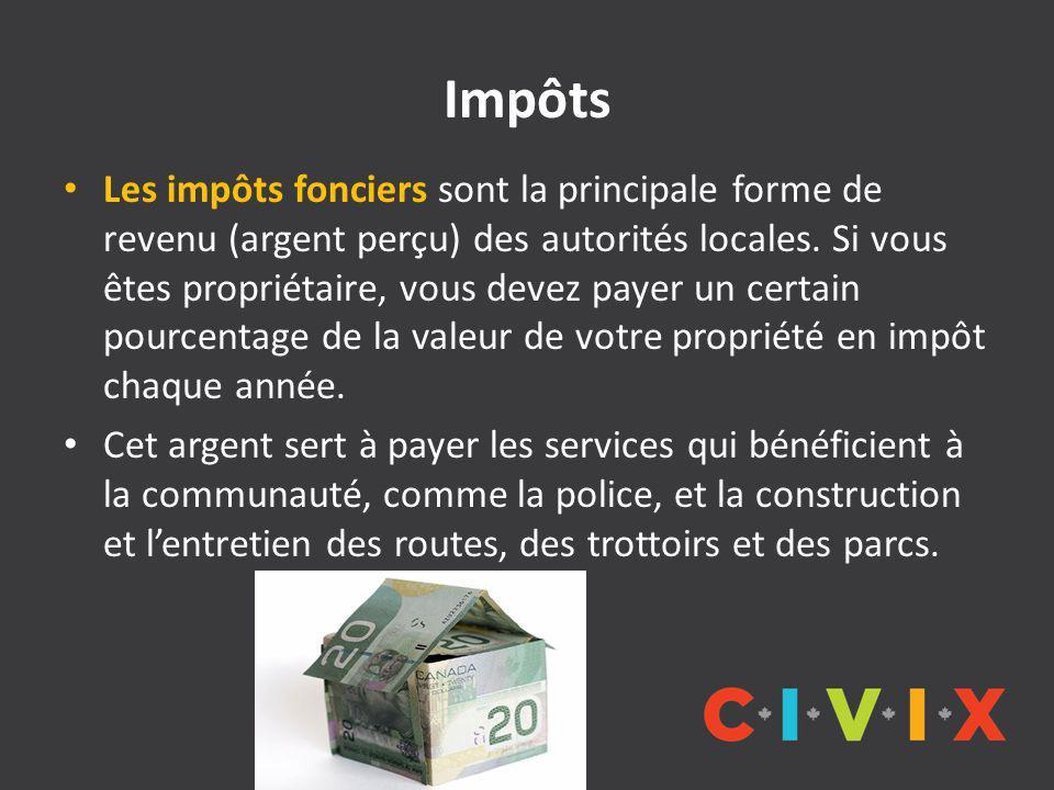 Impôts Les impôts fonciers sont la principale forme de revenu (argent perçu) des autorités locales.
