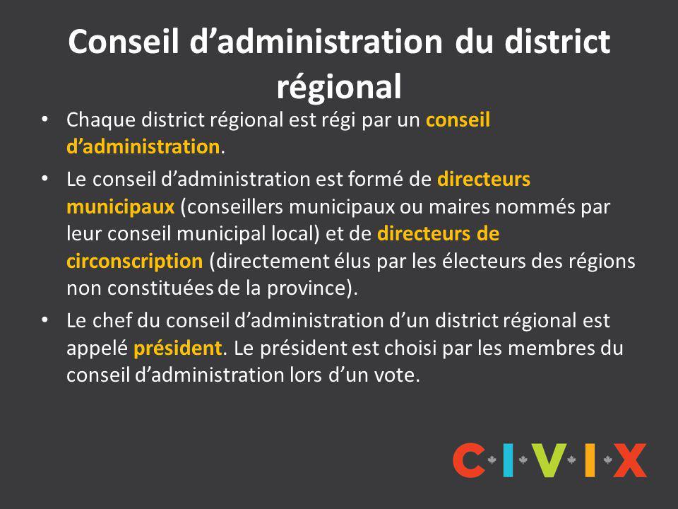 Conseil d'administration du district régional Chaque district régional est régi par un conseil d'administration.