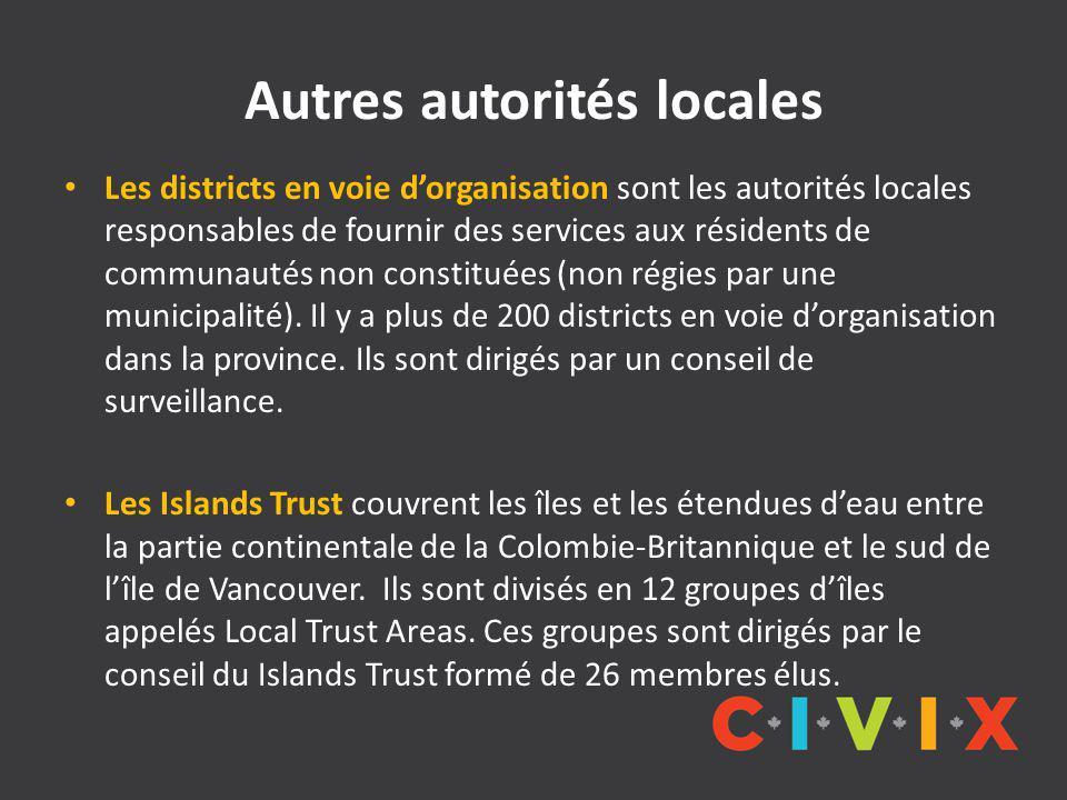 Autres autorités locales Les districts en voie d'organisation sont les autorités locales responsables de fournir des services aux résidents de communautés non constituées (non régies par une municipalité).