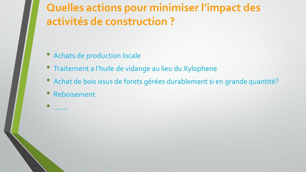Quelles actions pour minimiser l'impact des activités de construction .