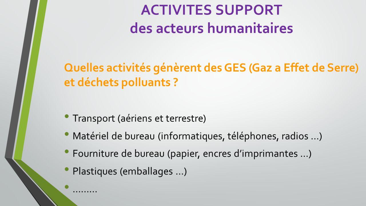 Quelles activités génèrent des GES (Gaz a Effet de Serre) et déchets polluants .