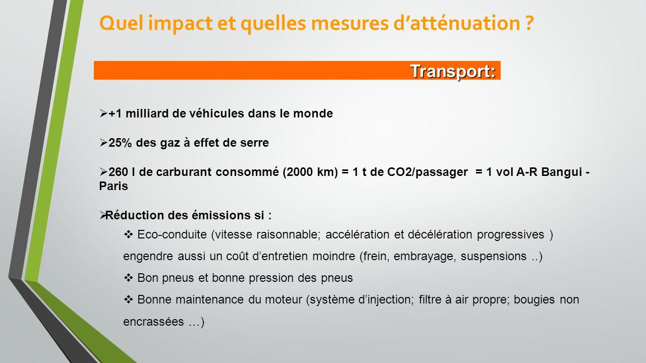 Transport:  +1 milliard de véhicules dans le monde  25% des gaz à effet de serre  260 l de carburant consommé (2000 km) = 1 t de CO2/passager = 1 vol A-R Bangui - Paris  Réduction des émissions si :  Eco-conduite (vitesse raisonnable; accélération et décélération progressives ) engendre aussi un coût d'entretien moindre (frein, embrayage, suspensions..)  Bon pneus et bonne pression des pneus  Bonne maintenance du moteur (système d'injection; filtre à air propre; bougies non encrassées …) Quel impact et quelles mesures d'atténuation ?