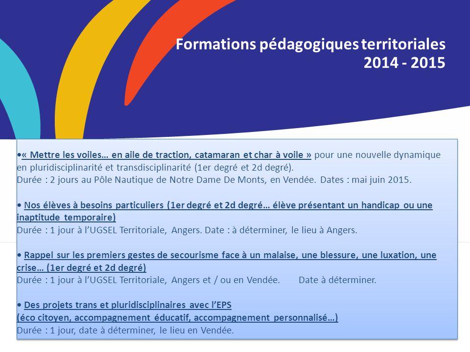 Titre de la Formations pédagogiques territoriales 2014 - 2015 « Mettre les voiles… en aile de traction, catamaran et char à voile » pour une nouvelle