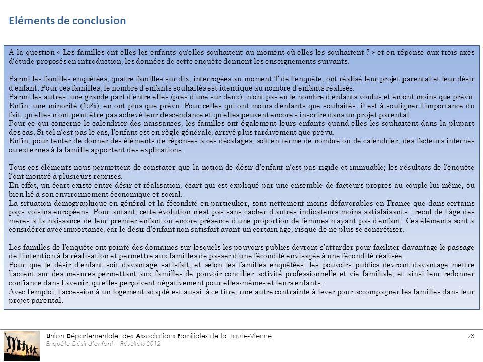 Eléments de conclusion U nion D épartementale des A ssociations F amiliales de la Haute-Vienne 28 Enquête Désir d'enfant – Résultats 2012 A la question « Les familles ont-elles les enfants qu'elles souhaitent au moment où elles les souhaitent .