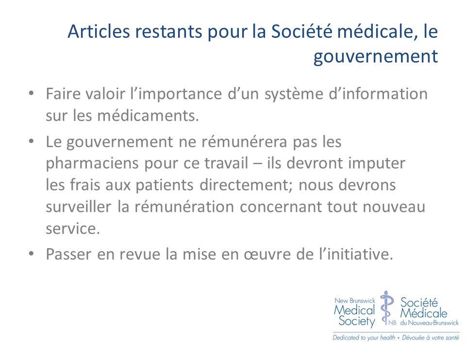 Articles restants pour la Société médicale, le gouvernement Faire valoir l'importance d'un système d'information sur les médicaments.