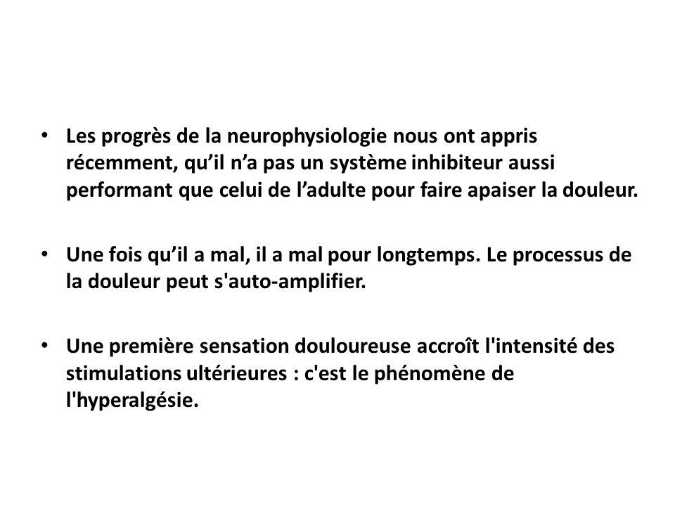 Les progrès de la neurophysiologie nous ont appris récemment, qu'il n'a pas un système inhibiteur aussi performant que celui de l'adulte pour faire ap
