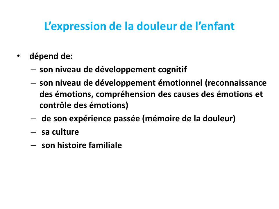 L'expression de la douleur de l'enfant dépend de: – son niveau de développement cognitif – son niveau de développement émotionnel (reconnaissance des