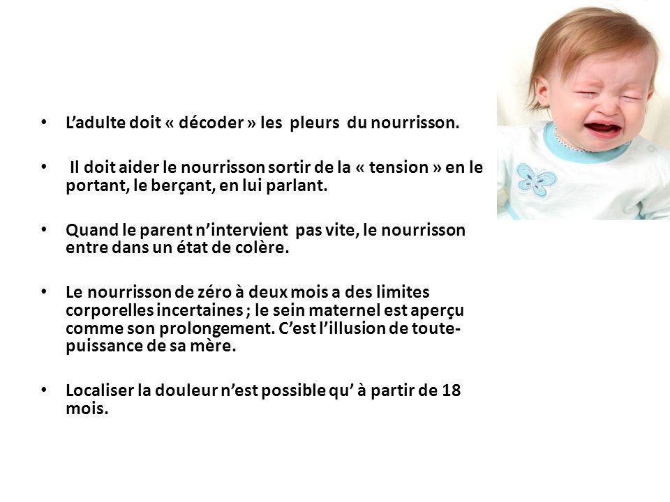 L'adulte doit « décoder » les pleurs du nourrisson. Il doit aider le nourrisson sortir de la « tension » en le portant, le berçant, en lui parlant. Qu
