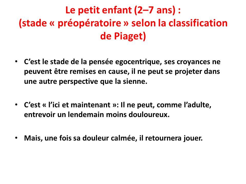 Le petit enfant (2–7 ans) : (stade « préopératoire » selon la classification de Piaget) C'est le stade de la pensée egocentrique, ses croyances ne peu