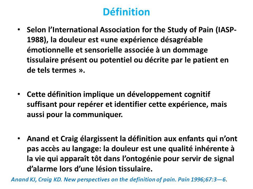 Définition Selon l'International Association for the Study of Pain (IASP- 1988), la douleur est «une expérience désagréable émotionnelle et sensoriell