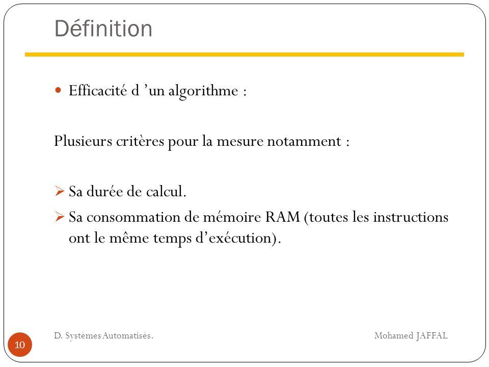 Définition Efficacité d 'un algorithme : Plusieurs critères pour la mesure notamment :  Sa durée de calcul.  Sa consommation de mémoire RAM (toutes