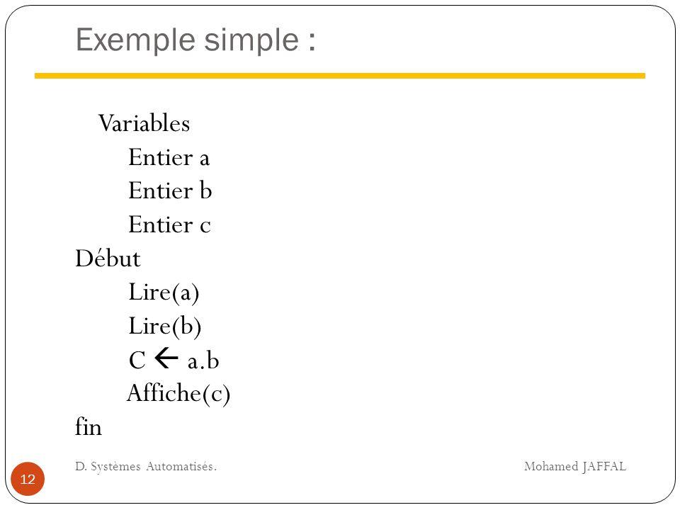Exemple simple : Variables Entier a Entier b Entier c Début Lire(a) Lire(b) C  a.b Affiche(c) fin 12 D. Systèmes Automatisés. Mohamed JAFFAL