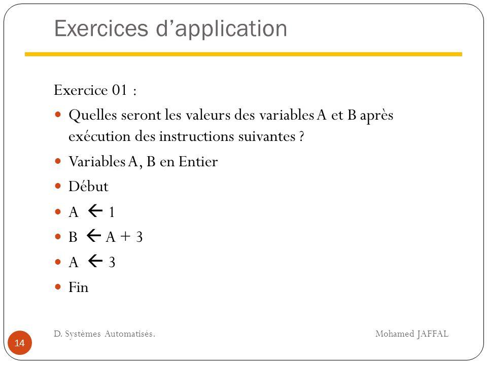 Exercices d'application Exercice 01 : Quelles seront les valeurs des variables A et B après exécution des instructions suivantes ? Variables A, B en E