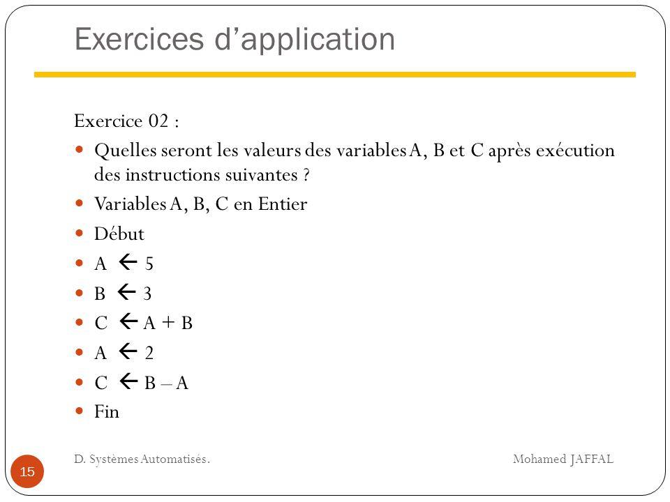 Exercices d'application Exercice 02 : Quelles seront les valeurs des variables A, B et C après exécution des instructions suivantes ? Variables A, B,