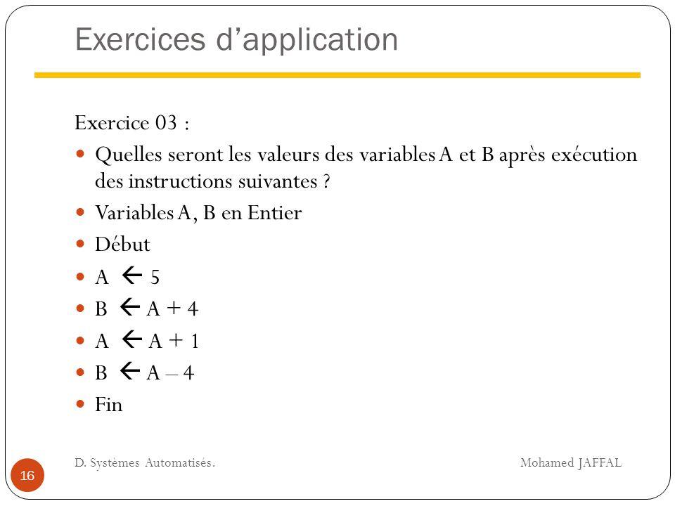 Exercices d'application Exercice 03 : Quelles seront les valeurs des variables A et B après exécution des instructions suivantes ? Variables A, B en E