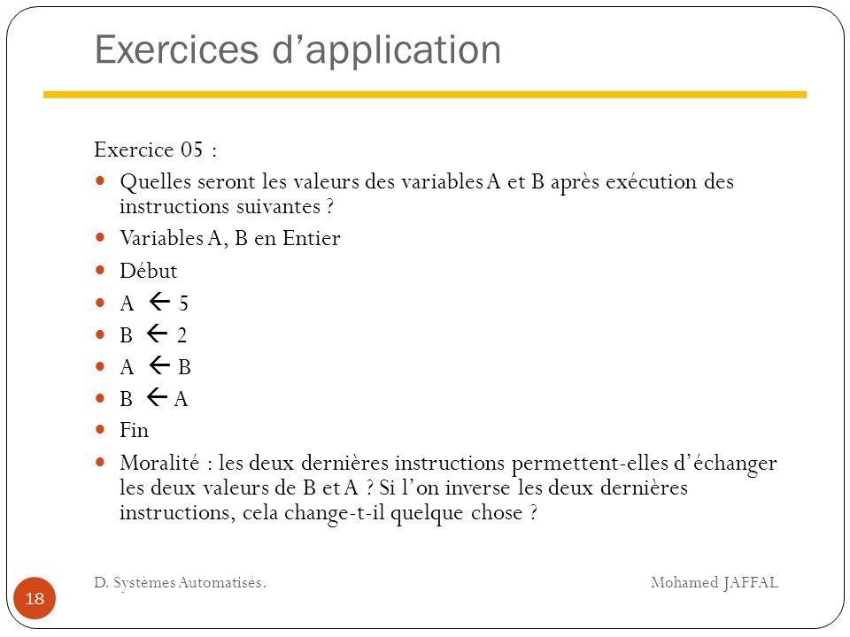 Exercices d'application Exercice 05 : Quelles seront les valeurs des variables A et B après exécution des instructions suivantes ? Variables A, B en E