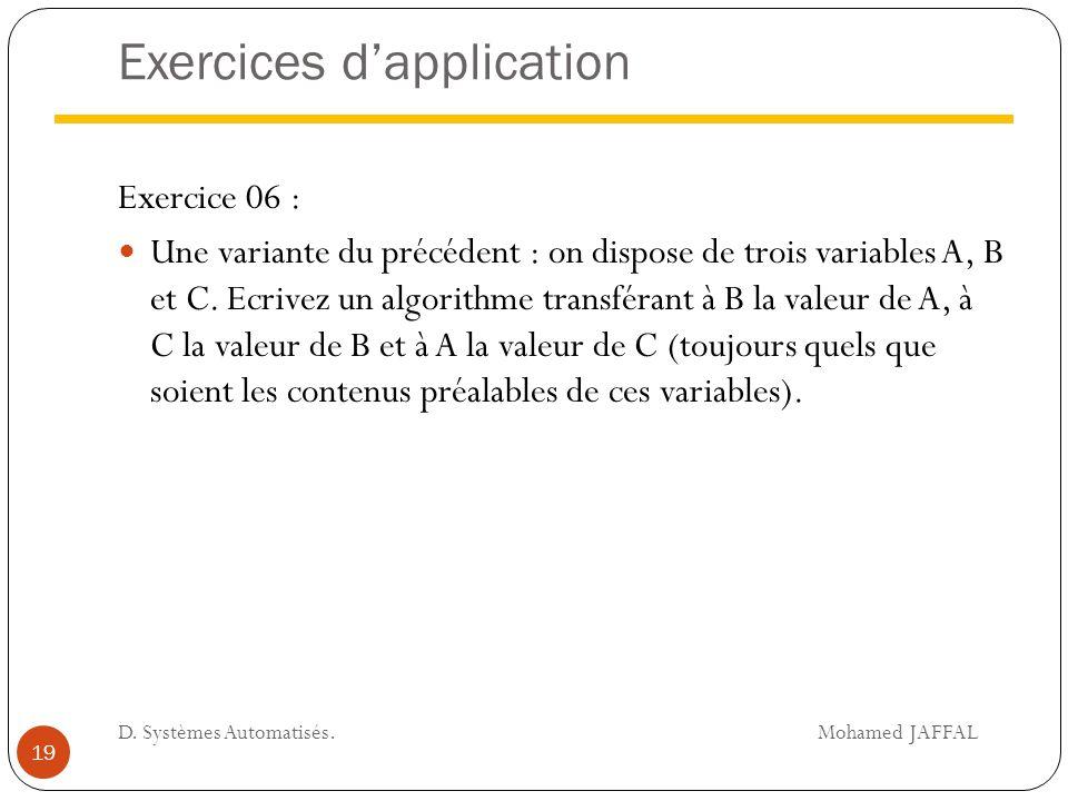 Exercices d'application Exercice 06 : Une variante du précédent : on dispose de trois variables A, B et C. Ecrivez un algorithme transférant à B la va