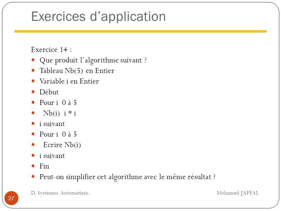 Exercices d'application Exercice 14 : Que produit l'algorithme suivant ? Tableau Nb(5) en Entier Variable i en Entier Début Pour i 0 à 5 Nb(i) i * i i