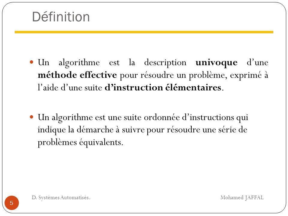 Définition Un algorithme est la description univoque d'une méthode effective pour résoudre un problème, exprimé à l'aide d'une suite d'instruction élé