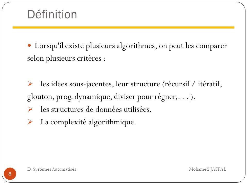 Définition Lorsqu'il existe plusieurs algorithmes, on peut les comparer selon plusieurs critères :  les idées sous-jacentes, leur structure (récursif