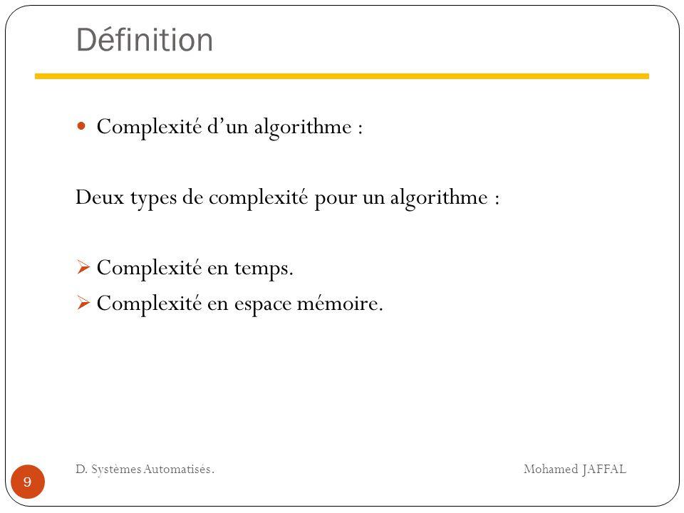 Définition Complexité d'un algorithme : Deux types de complexité pour un algorithme :  Complexité en temps.  Complexité en espace mémoire. 9 D. Syst