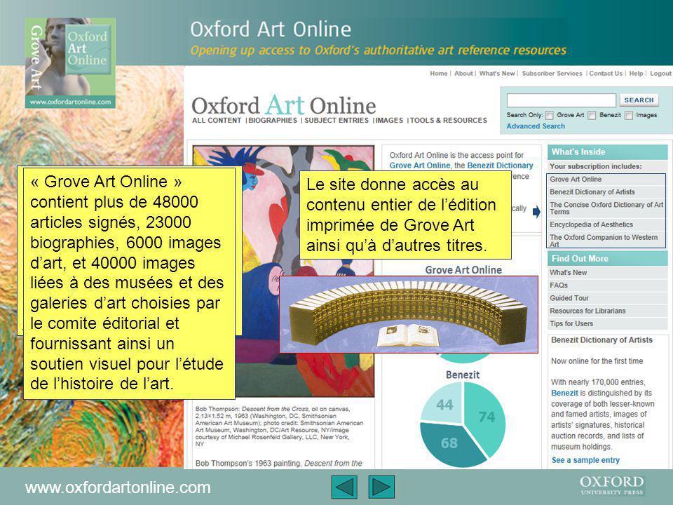 Cette présentation est un bref descriptif d'Oxford Art Online Elle couvrira La fonction d'Oxford Art Online L'aide qu'Oxford Art Online peut procurer Comment y rechercher des informations La présentation est d'environ 5 minutes