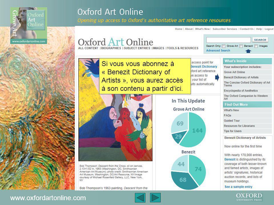 www.oxfordartonline.com Oxford Art Online est le portail de recherche de Grove Art Online, primé à plusieurs reprises, l'autorité ultime sur tous aspects des arts visuels à travers le monde – de la préhistoire jusqu'à nos jours-ci.