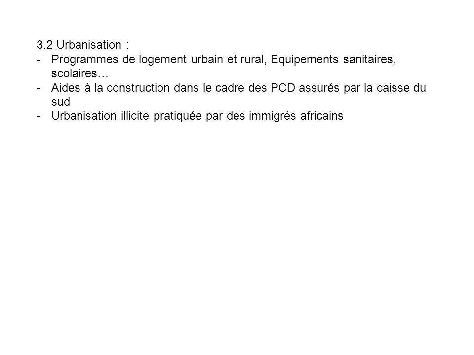 3.2 Urbanisation : -Programmes de logement urbain et rural, Equipements sanitaires, scolaires… -Aides à la construction dans le cadre des PCD assurés par la caisse du sud -Urbanisation illicite pratiquée par des immigrés africains