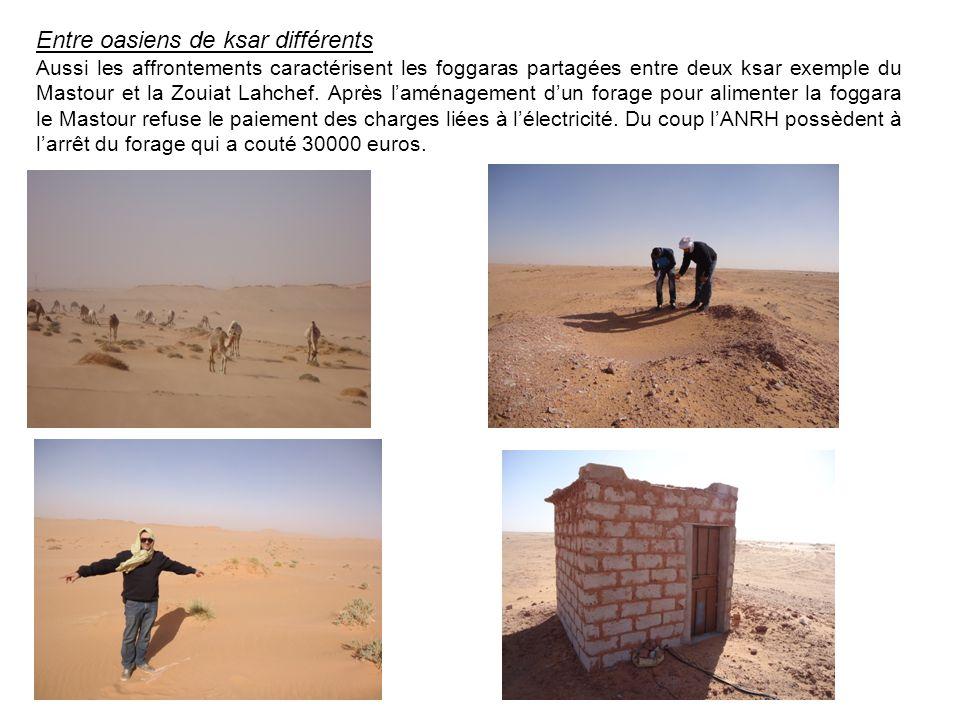Entre oasiens de ksar différents Aussi les affrontements caractérisent les foggaras partagées entre deux ksar exemple du Mastour et la Zouiat Lahchef.