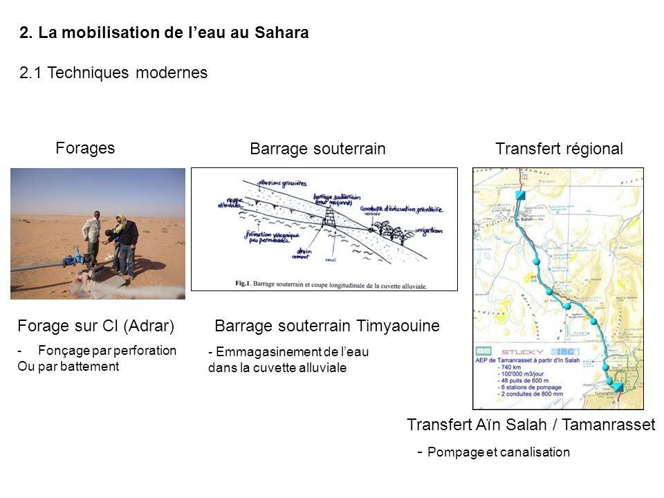 2. La mobilisation de l'eau au Sahara 2.1 Techniques modernes Transfert régionalBarrage souterrain Forages Forage sur CI (Adrar)Barrage souterrain Tim