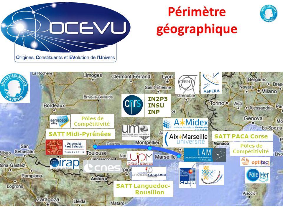 Périmètre géographique 2 Eric Kajfasz ? ? SATT PACA Corse SATT Midi-Pyrénées Pôles de Compétitivité Pôles de Compétitivité IN2P3 INSU INP SATT Langued