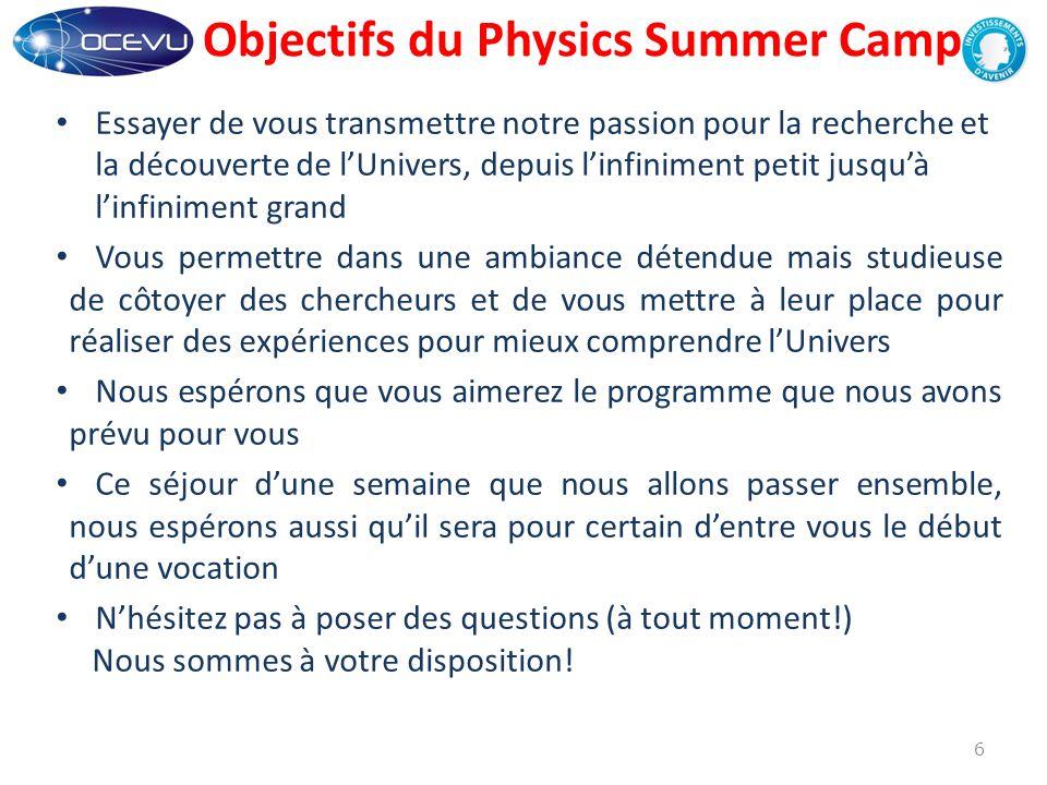 Objectifs du Physics Summer Camp Essayer de vous transmettre notre passion pour la recherche et la découverte de l'Univers, depuis l'infiniment petit