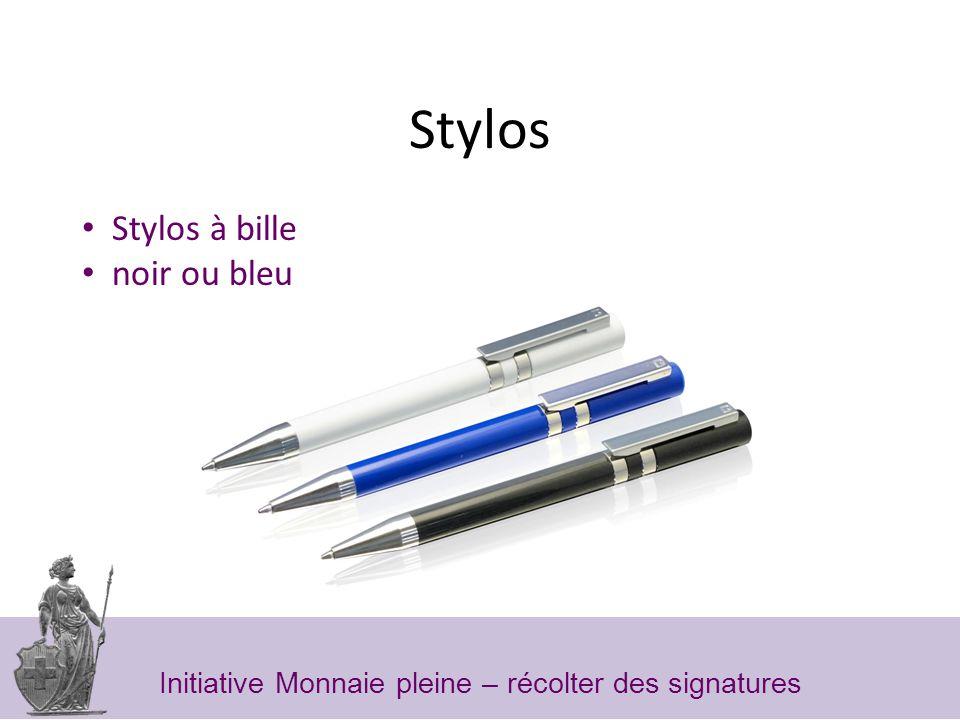 Stylos Stylos à bille noir ou bleu Initiative Monnaie pleine – récolter des signatures