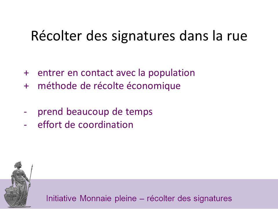 Récolter des signatures dans la rue + entrer en contact avec la population + méthode de récolte économique -prend beaucoup de temps -effort de coordination Initiative Monnaie pleine – récolter des signatures