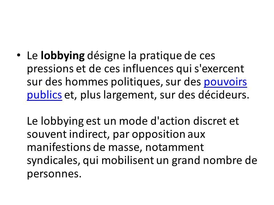 Qu est-ce que le lobbying .C est le fait de pratiquer quasi professionnellement le lobby.