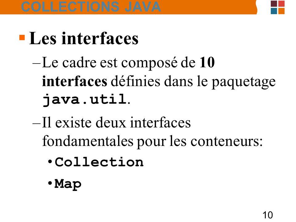 10 COLLECTIONS JAVA  Les interfaces –Le cadre est composé de 10 interfaces définies dans le paquetage java.util.