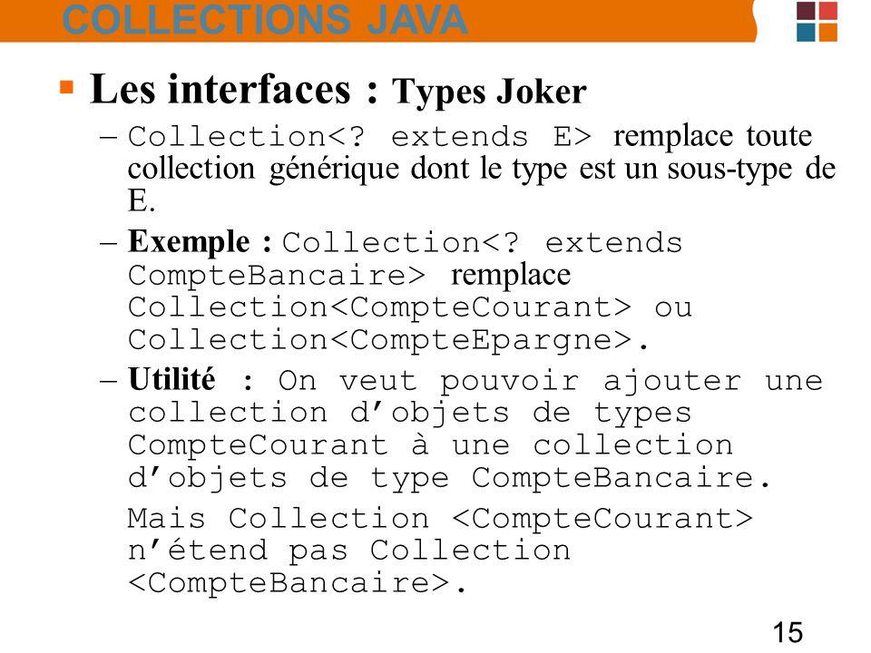 15  Les interfaces : Types Joker – Collection remplace toute collection générique dont le type est un sous-type de E.