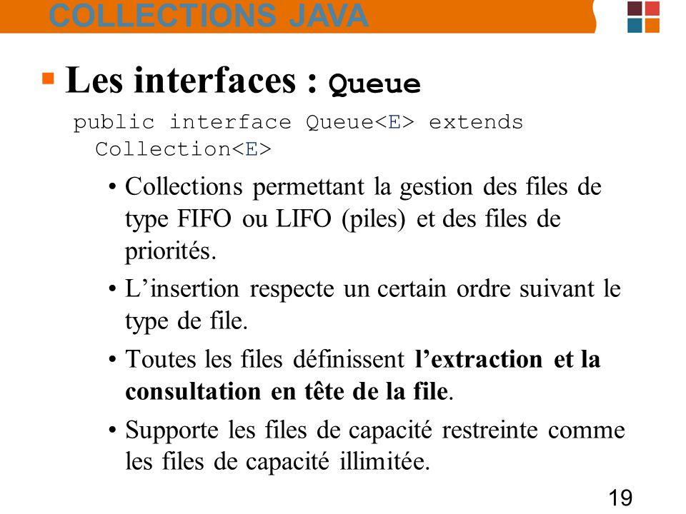 19  Les interfaces : Queue public interface Queue extends Collection Collections permettant la gestion des files de type FIFO ou LIFO (piles) et des files de priorités.