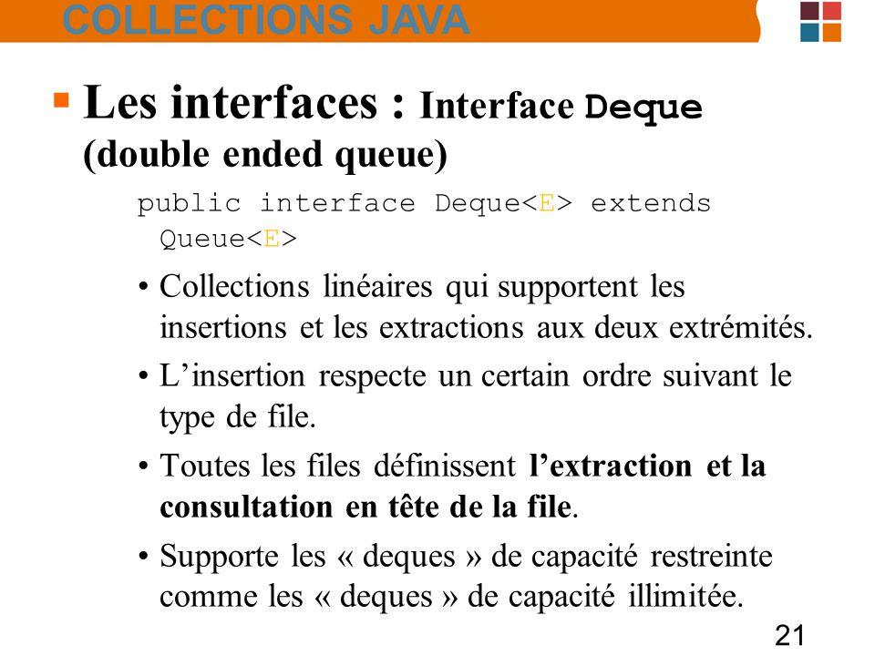 21  Les interfaces : Interface Deque (double ended queue) public interface Deque extends Queue Collections linéaires qui supportent les insertions et les extractions aux deux extrémités.
