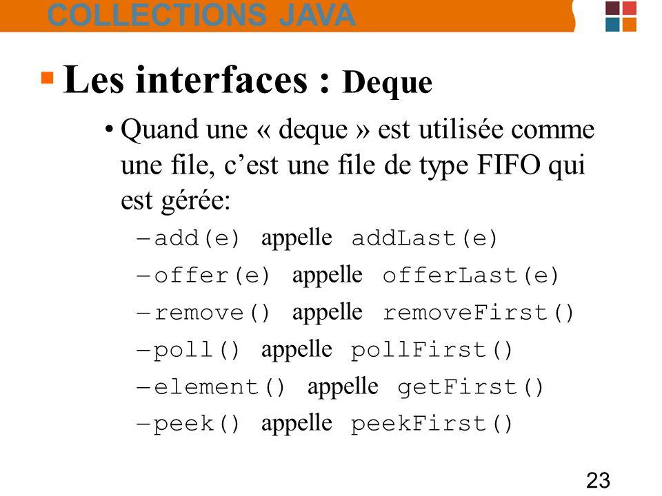 23  Les interfaces : Deque Quand une « deque » est utilisée comme une file, c'est une file de type FIFO qui est gérée: – add(e) appelle addLast(e) – offer(e) appelle offerLast(e) – remove() appelle removeFirst() – poll() appelle pollFirst() – element() appelle getFirst() – peek() appelle peekFirst() COLLECTIONS JAVA